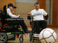 PICTURED are young wheelchair footballers in action